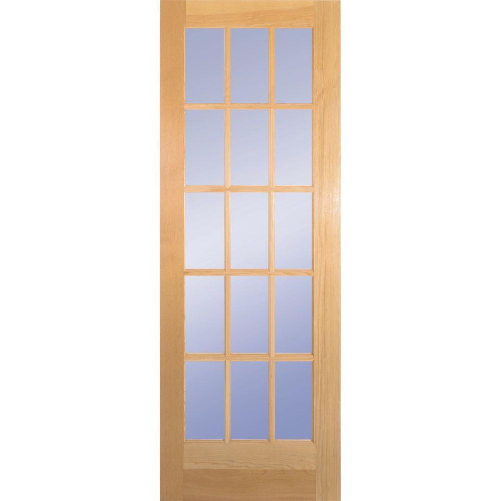 32 in. Clear Pine 15 Lite French Interior Door Slab