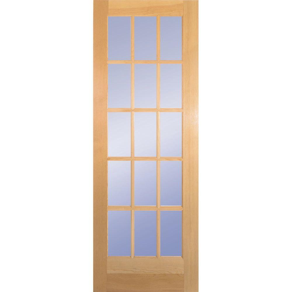Builder's Choice 30 in. x 80 in. 30 in. Clear Pine Wood 15-Lite French Interior Door Slab