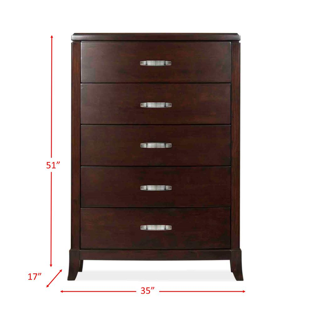 Picket House Furnishings Elaine 5 Drawer Espresso Chest Dl600ch The Home Depot