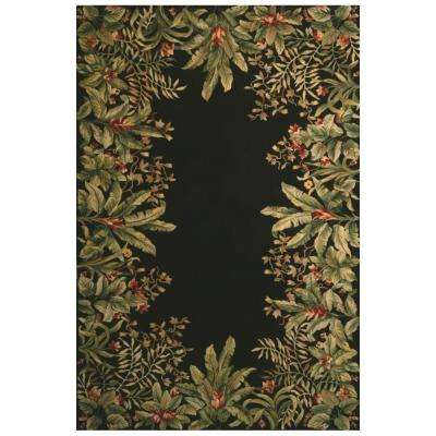 Lush Border Tropics Black 2 ft. 6 in. x 4 ft. 6 in. Area Rug