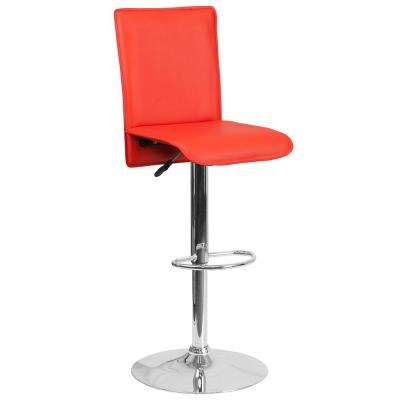 31.75 in. Adjustable Height Red Cushioned Bar Stool