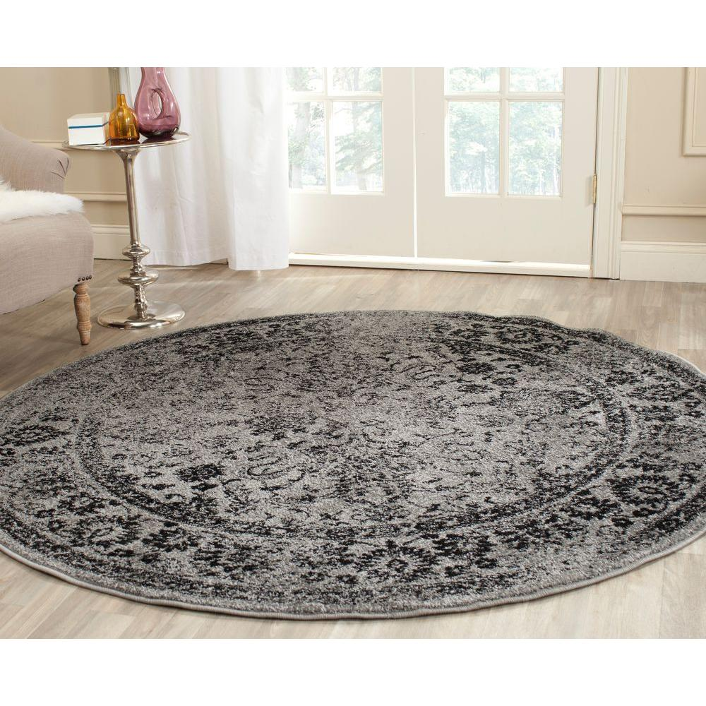 Black And Grey Rugs: Safavieh Adirondack Ivory/Silver 8 Ft. X 8 Ft. Round Area