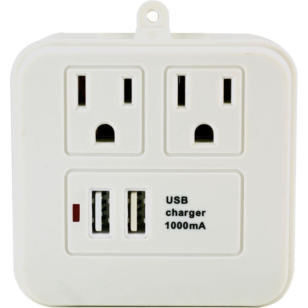 GE 2 USB/2 AC Surge Protector with Charging Shelf