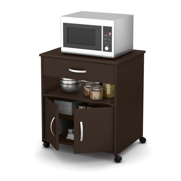 South Shore Axess Chocolate Microwave Cart With Storage 10014 The Home Depot