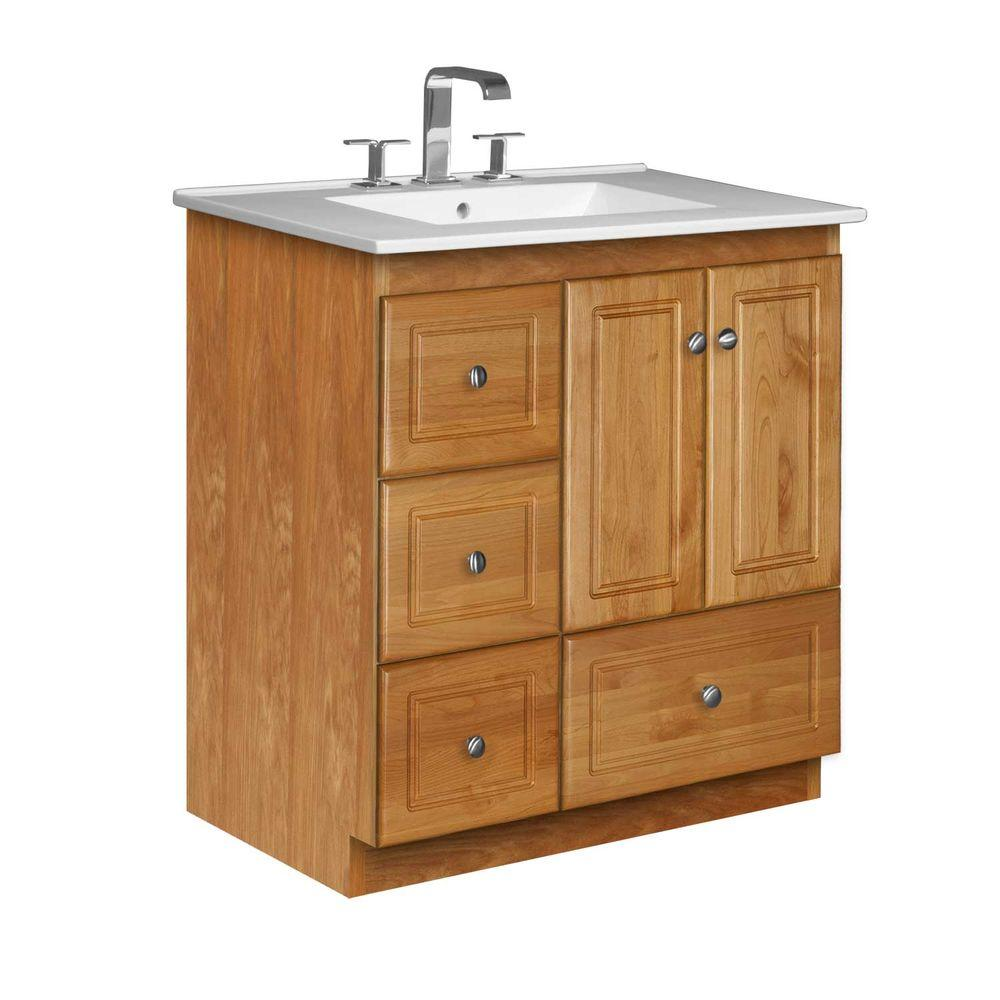 Simplicity by Strasser Ultraline 31 in. W x 22 in. D x 35 in. H Vanity with Left Drawers in Natural Alder with Vanity Top in White