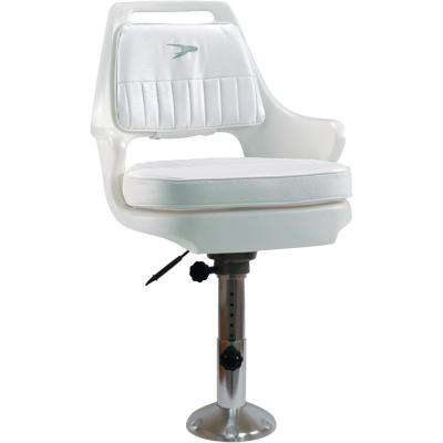 Standard 12 in. to 18 in. Pilot Chair Package with Chair, Cushions, Adjustable Pedestal and Seat Slide, White