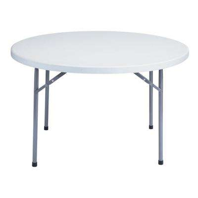 48 in. Grey Round Plastic Folding Table