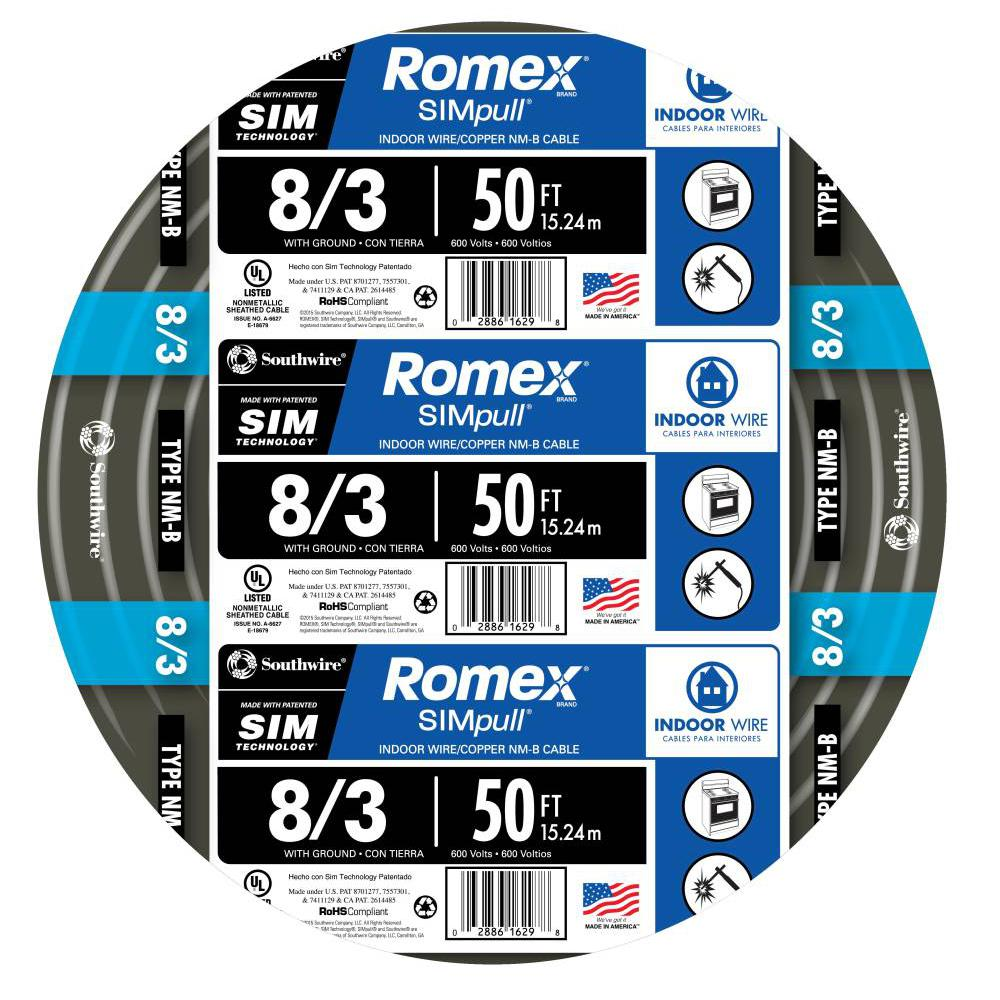 Southwire 50 ft. 8/3 Stranded Romex SIMpull CU NM-B W/G Wire ...