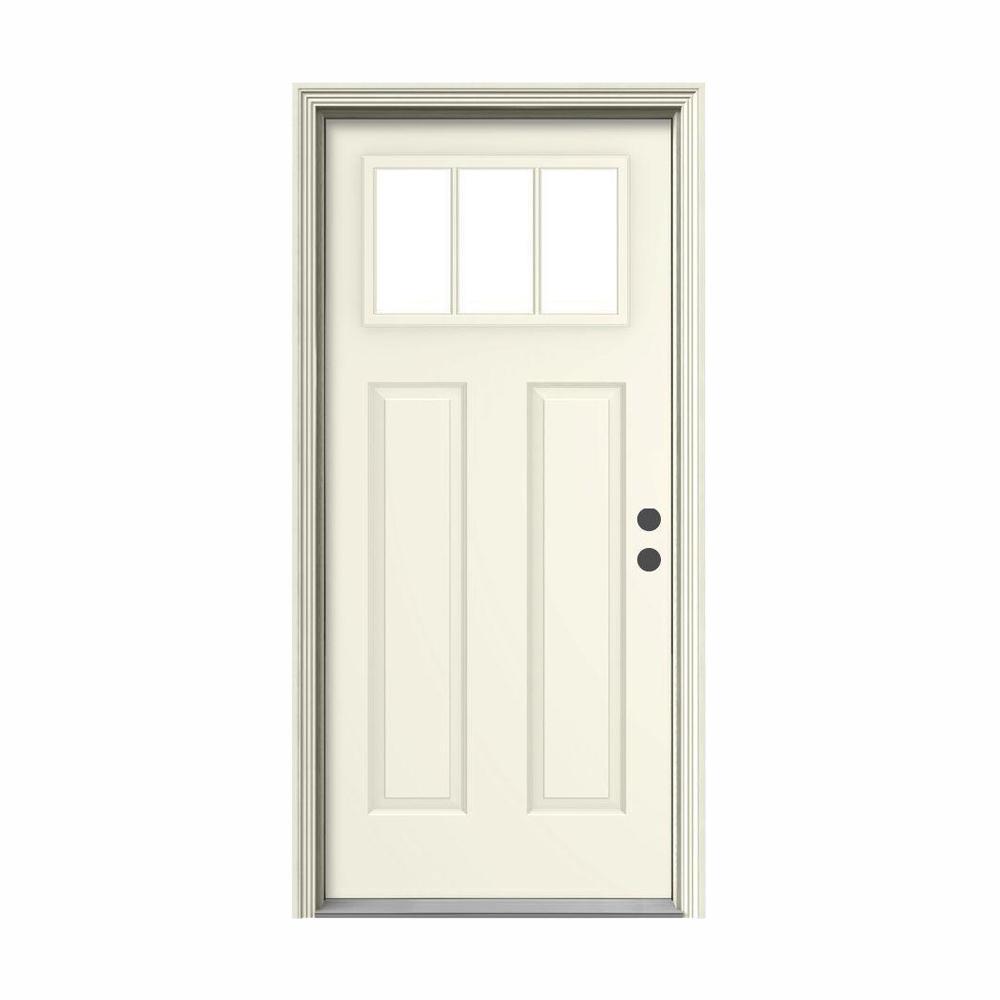 36 in. x 80 in. 3 Lite Craftsman Vanilla Painted Steel Prehung Left-Hand Inswing Front Door w/Brickmould