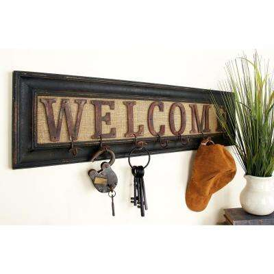 "35 in. x 10 in. Rustic ""WELCOME"" Framed Wall Hook Rack"