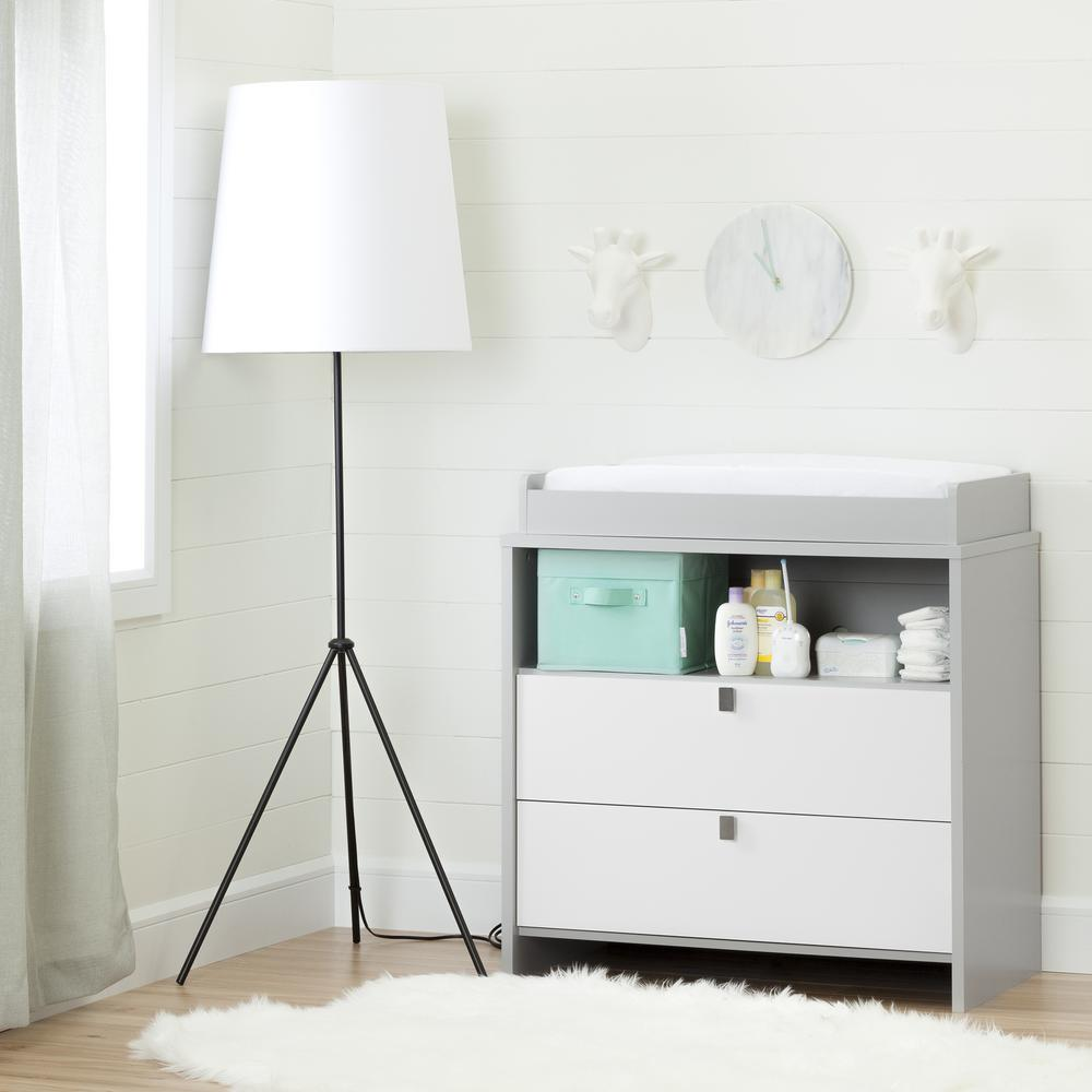 south shore cookie 2drawer soft gray and pure white changing table
