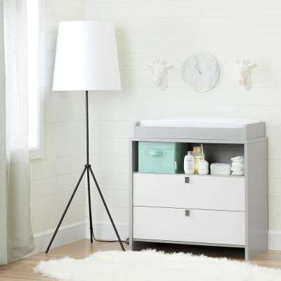 Cookie 2-Drawer Soft Gray and Pure White Changing Table