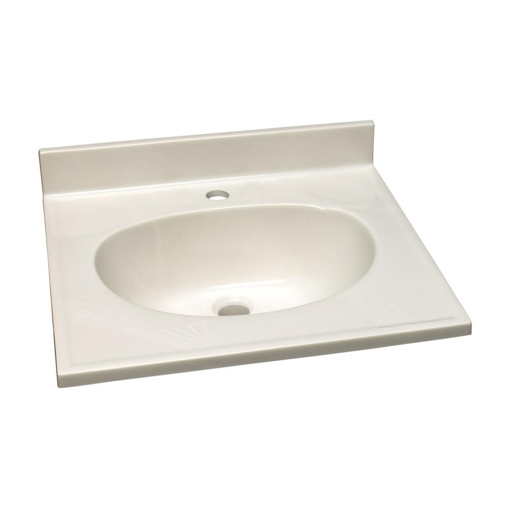 37 in. Single Faucet Hole Cultured Marble Vanity Top with Solid