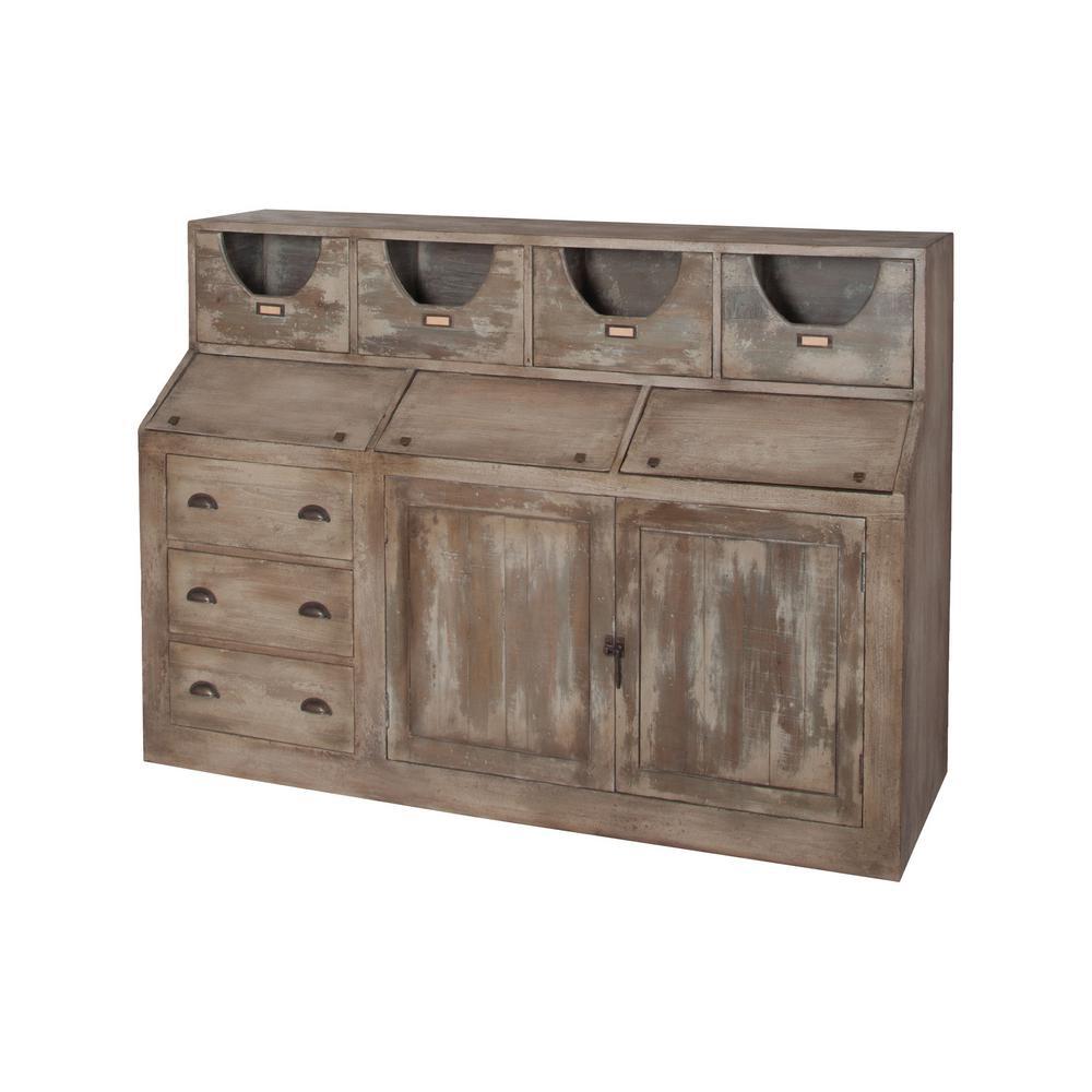 mahogany castle gate storage cabinet