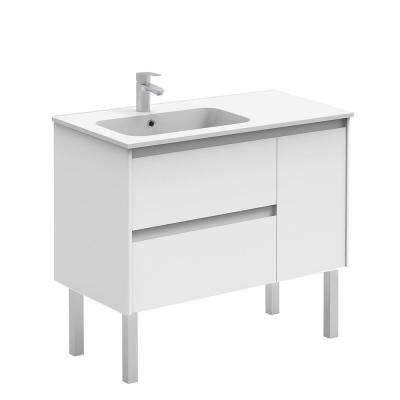 35.6 in. W x 18.1 in. D x 32.9 in. H Bathroom Vanity Unit in Gloss White with Vanity Top and Basin in White