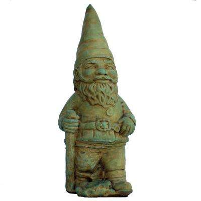 Cast Stone Hiking Gnome Garden Statue - Weathered Bronze