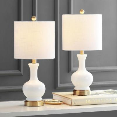 Cox 22 in. White Glass/Metal LED Table Lamp (Set of 2)