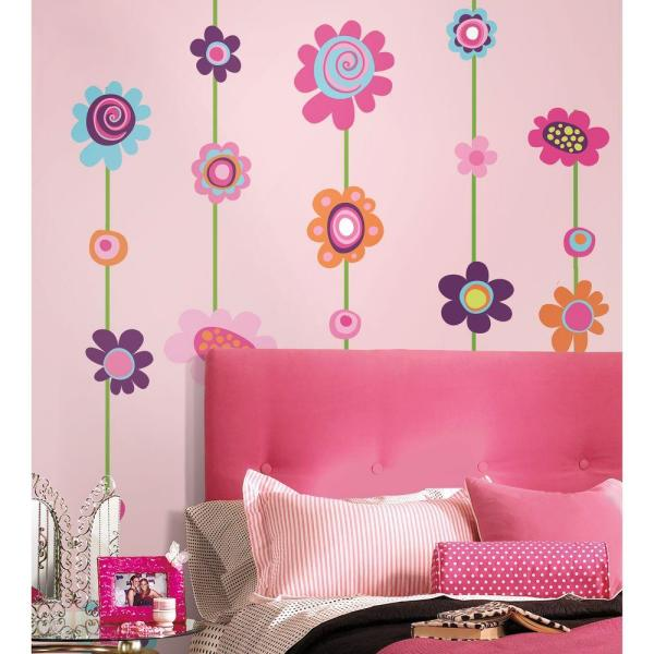 RoomMates 18 in. x 40 in. Flower Stripe 53-Piece Peel and