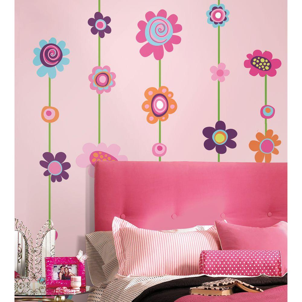 null 18 in. x 40 in. Flower Stripe 53-Piece Peel and Stick Giant Wall Decal