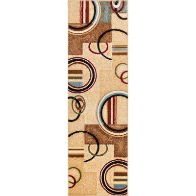 Barclay Arcs and Shapes Ivory 2 ft. x 7 ft. Modern Geometric Runner Rug