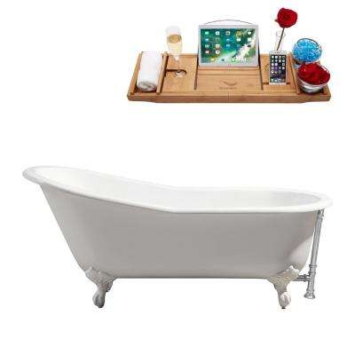 66.9 in. Cast Iron Clawfoot Non-Whirlpool Bathtub in Glossy White