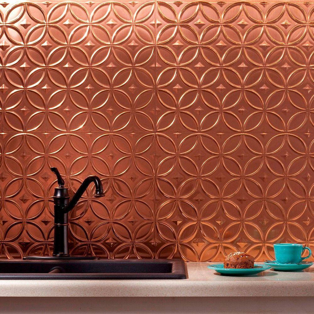 Backsplash Panels: Fasade 24 In. X 18 In. Rings PVC Decorative Backsplash