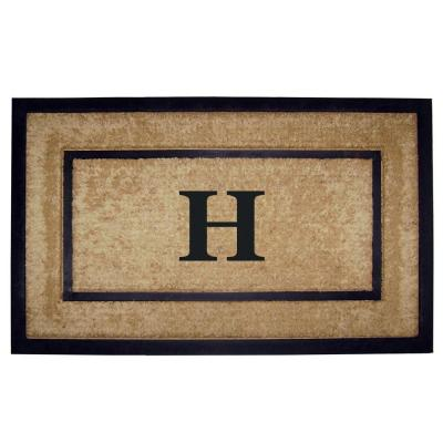 DirtBuster Single Picture Frame Black 22 in. x 36 in. Coir with Rubber Border Monogrammed H Door Mat