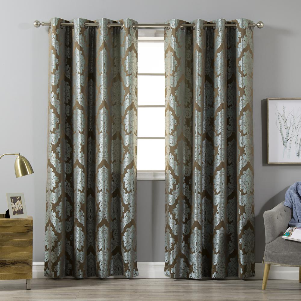 Best Home Fashion Damask Jacquard Curtains In Turquoise 84 L X 52