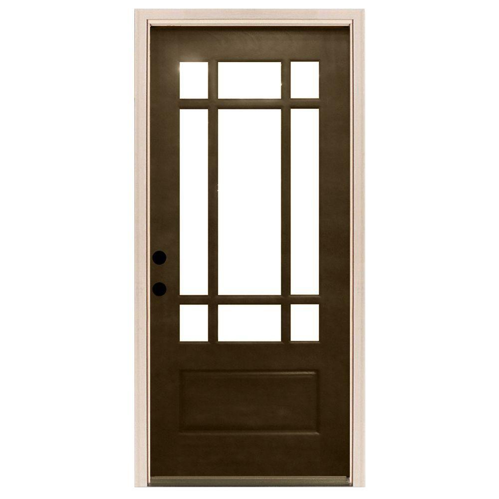 Steves & Sons 36 in. x 80 in. Craftsman 9 Lite Stained Mahogany ...