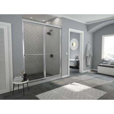 Newport Series 54 in. x 70 in. Framed Sliding Shower Door with Towel Bar in Chrome and Aquatex Glass