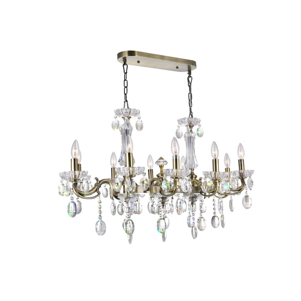 CWI Lighting Flawless 10-Light Antique Brass Chandelier