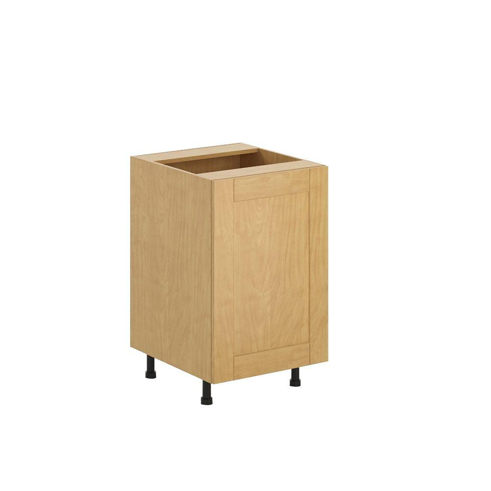 Eurostyle Ready to Assemble 21x34.5x24.5 in. Milano Full Height Base Cabinet in Maple Melamine and Door in Clear Varnish