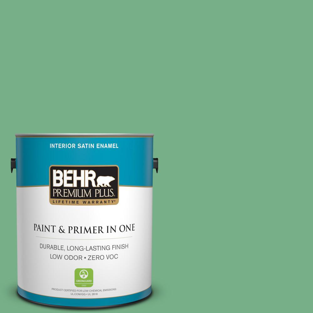 BEHR Premium Plus 1-gal. #M410-5 Green Bank Satin Enamel Interior Paint