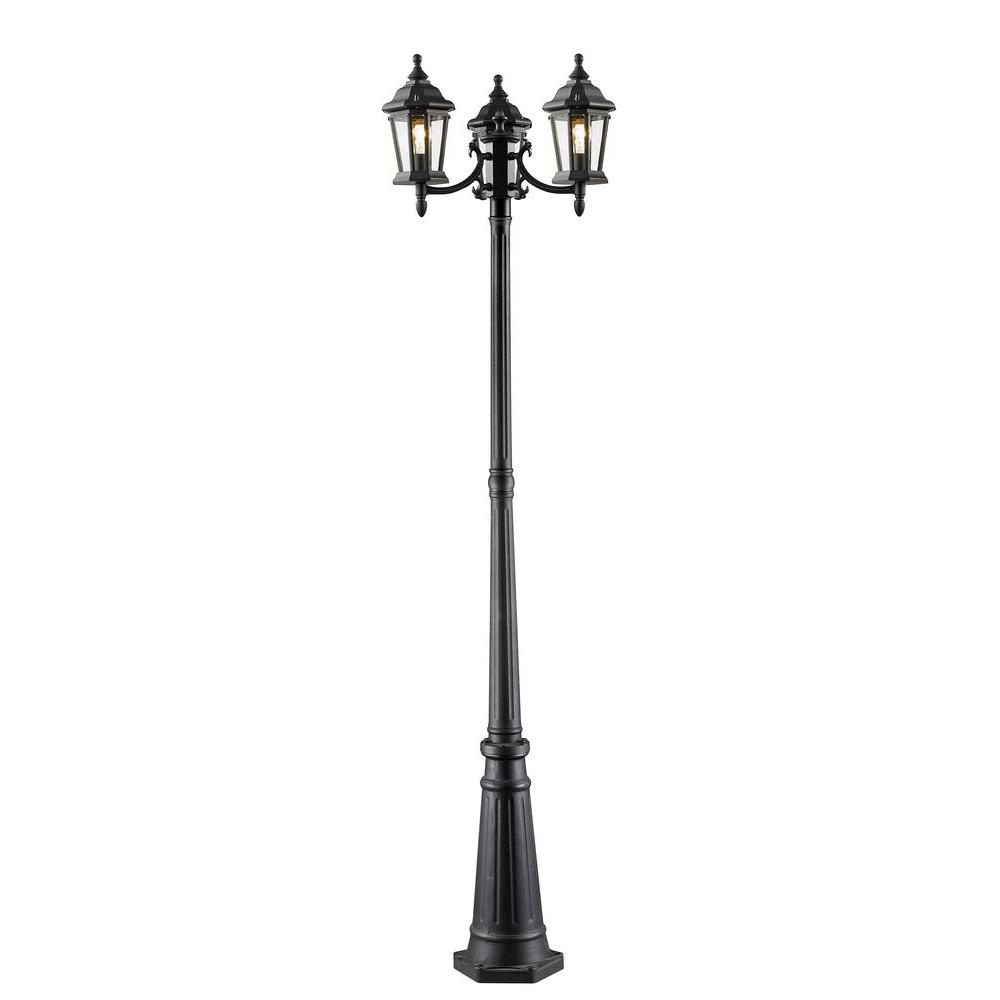 Presley 3-Light Black Vintage Outdoor Lamp Post with Clear Beveled Glass