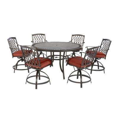 Ridge Falls 7-Piece Dark Brown Aluminum Outdoor Patio Dining Set with Sunbrella Henna Red Cushions