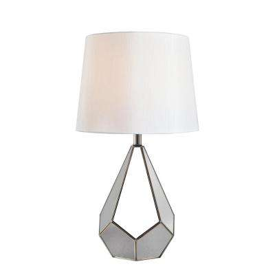 Stainless steel table lamp with white fabric shade