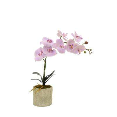 Faux Orchid Pink Flower Pot