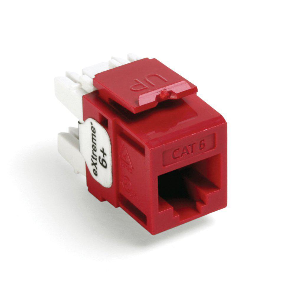 QuickPort Extreme CAT 6 T568A/B Wiring Connectors, Crimson (25-Pack)