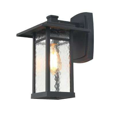 Craftsman 1-Light Black Outdoor Wall Mount Lantern with Water Glass Shade