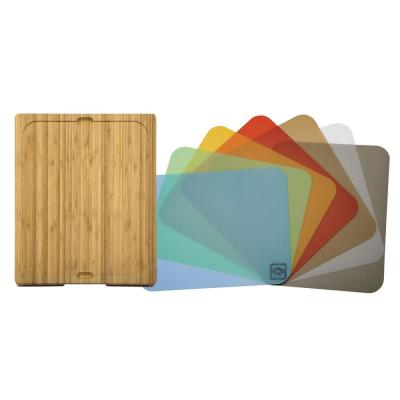Bamboo Cutting Board with 7 Color-Coded Flexible Cutting Mat Set with Food Icons