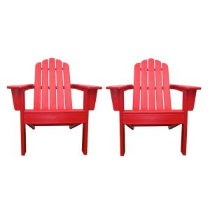 Marina Red Poly Plastic Outdoor Patio Adirondack Chair (2-Pack)