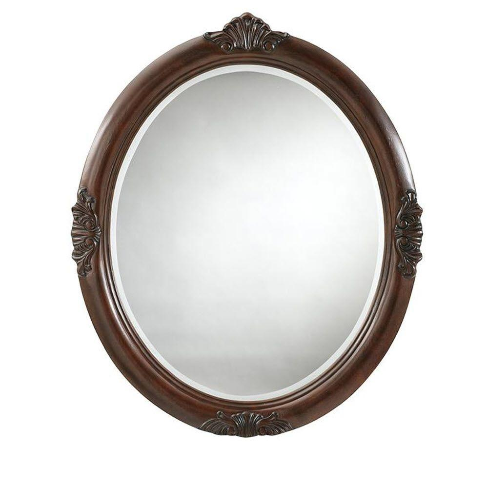 Home Decorators Collection Winslow 37 in. L x 30 in. W Oval Decorative Wall Mirror in Antique Cherry
