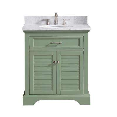 Colton 31 in. W x 22 in. D x 35 in. H Bath Vanity in Basil Green with Marble Vanity Top in Carrara White with Basin