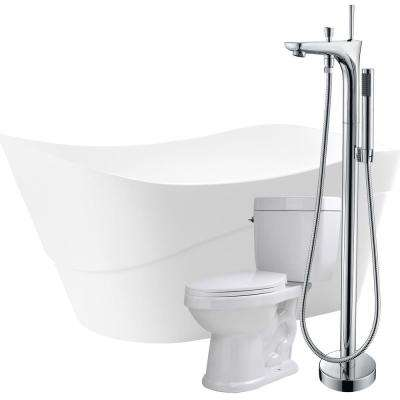 Kahl 67 in. Acrylic Flatbottom Non-Whirlpool Bathtub in White with Kase Faucet and Talos 1.6 GPF Toilet