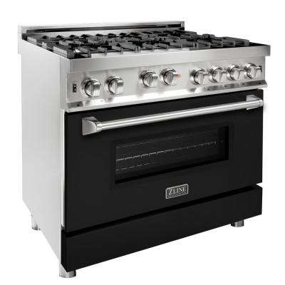 ZLINE 36 in. Professional Gas on Gas Range in Stainless Steel with Black Matte Door (RG-BLM-36)