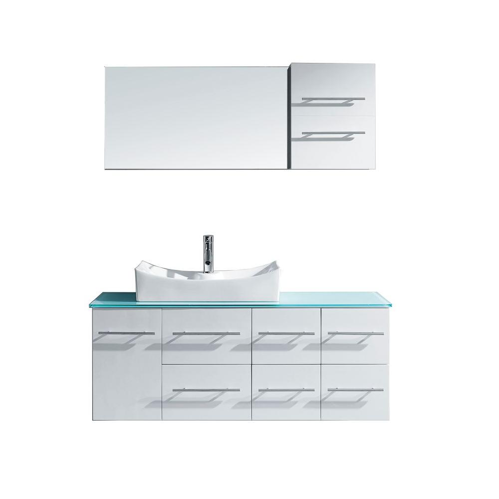 Virtu USA Ceanna 54 in. W Bath Vanity in White with Glass Vanity Top in Aqua with Square Basin and Mirror and Faucet