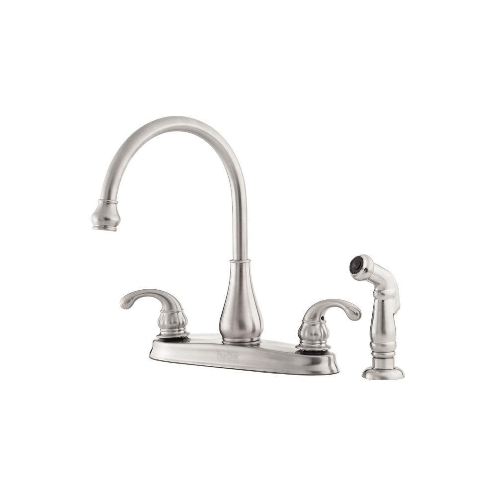 Pfister Treviso 2 Handle Standard Kitchen Faucet With Side Sprayer In Stainless Steel Gt364dss The Home Depot