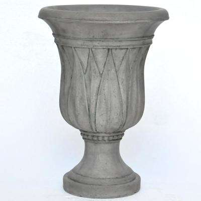 21 in. H. Granite Cast Stone Sharp Leaf Urn