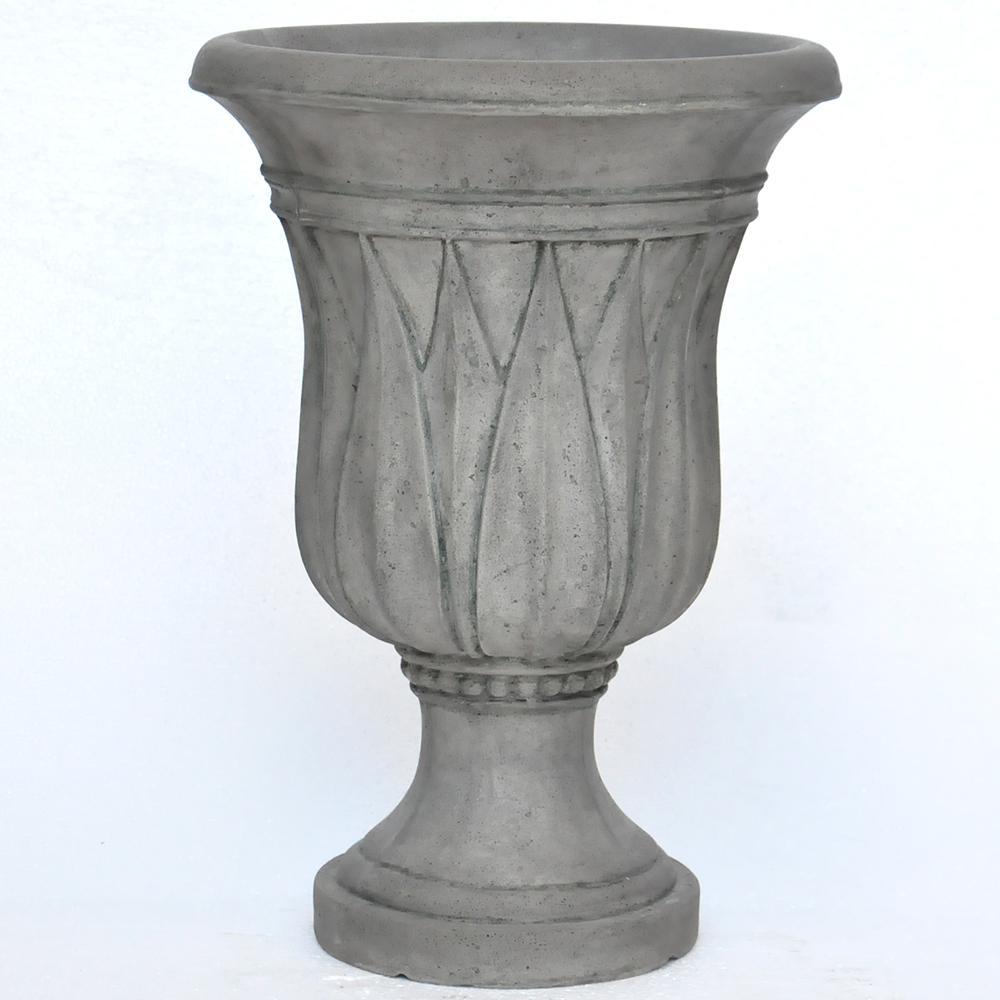 21 in. H. Granite Cast Stone Sharp Leaf Urn