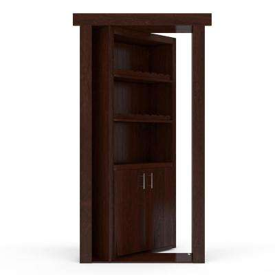 32 in. x 80 in. Flush Mount Assembled Maple Dark Stained Left-Hand Inswing Wine Rack Door
